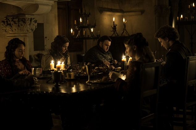 Samantha Spiro as Melessa Tarly, Hannah Murray as Gilly, John Bradley as Sam Tarly, Freddie Stroma as Dickon Tarly and Rebecca Benson as Talla Tarly in Season 6 of Game of Thrones. Photo Credit: Macall B. Polay/courtesy of HBO.