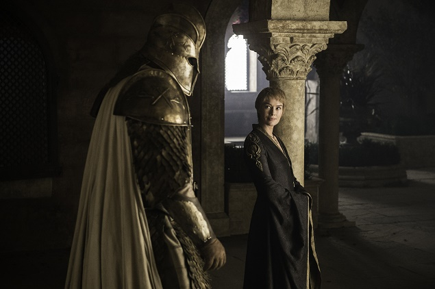 "Hafþór Júlíus ""Thor"" Björnsson as ""The Mountain"" and Lena Headey as Cersei Lannister in Season 6 of Game of Thrones. Photo Credit: Helen Sloan/courtesy of HBO."