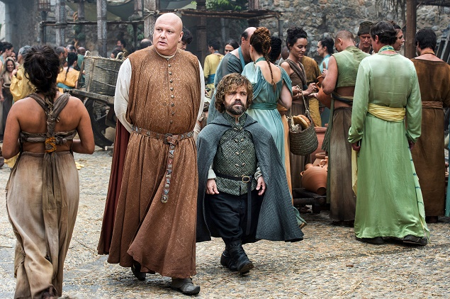 Conleth Hill as Varys and Peter Dinklage as Tyrion Lannister in Season 6 of Game of Thrones. Photo Credit: Macall B. Polay/courtesy of HBO.