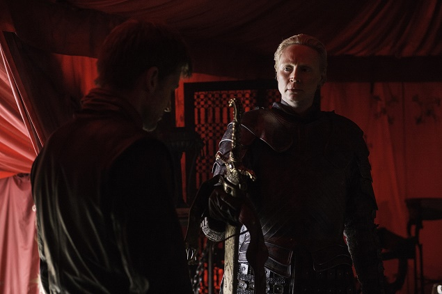 Gwendoline Christie as Brienne of Tarth and Nikolaj Coster-Waldau as Jaime Lannister in Season 6 of Game of Thrones. photo: Helen Sloan/courtesy of HBO.