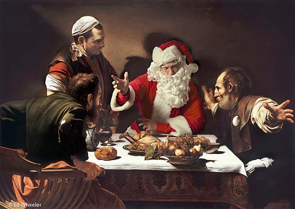 """A rendition of Caravaggio's painting """"Supper at Emmaus"""" by artist Ed Wheeler. Photo Credit: Ed Wheeler."""