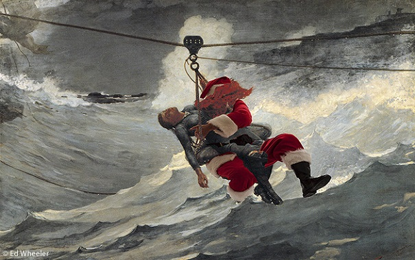 """A rendition of Winslow Homer's painting """"The Life Line"""" by artist Ed Wheeler. Photo Credit: Ed Wheeler."""