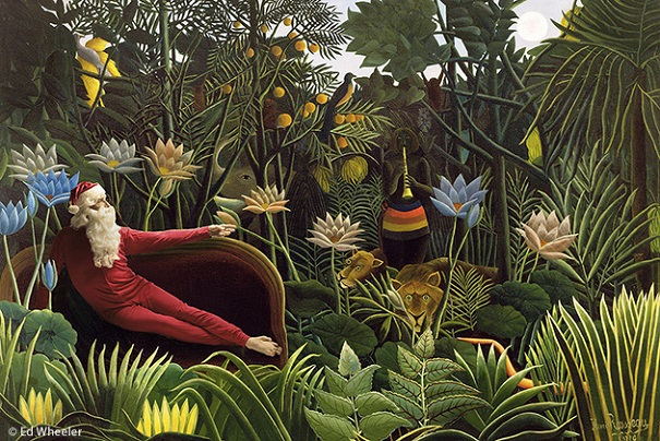 """A rendition of Henri Rousseau's painting """"The Dream"""" by artist Ed Wheeler. Photo Credit: Ed Wheeler."""