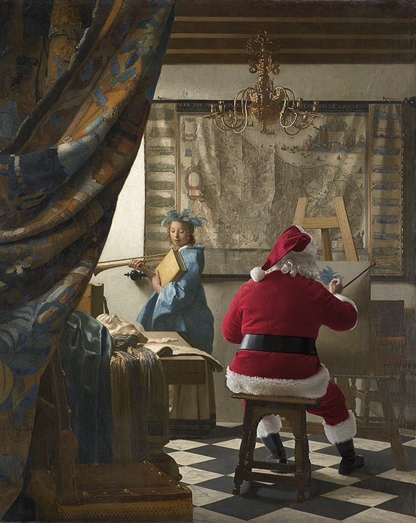"""A rendition of Johannes Vermeer's painting """"The Art of Painting"""" by artist Ed Wheeler. Photo Credit: Ed Wheeler."""