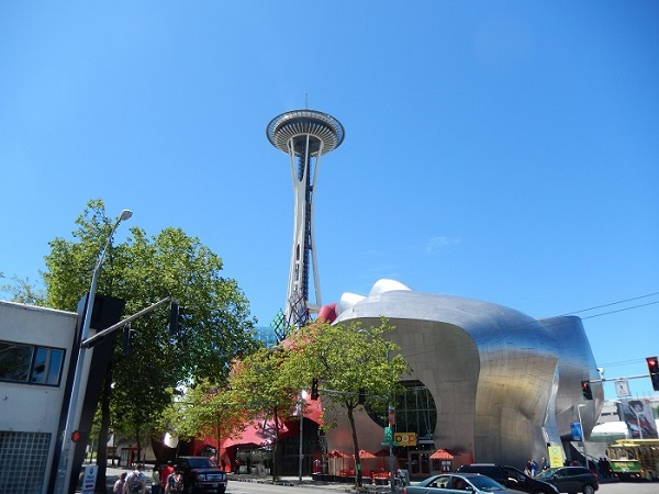 Seattle's Experience Music Project/Science Fiction Museum and Hall of Fame was designed by Frank O. Gehry, while the iconic Space Needle debuted at the 1962 World's Fair. Photo Credit: Benjamin Mack/GALO Magazine.