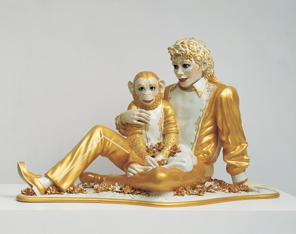 Jeff Koons, Michael Jackson and Bubbles, 1988. Porcelain; 42 x 70 1⁄2 x 32 1⁄2 in. (106.7 x 179.1 x 82.6 cm). Private collection. © Jeff Koons. Photo courtesy of the Whitney Museum of American Art.