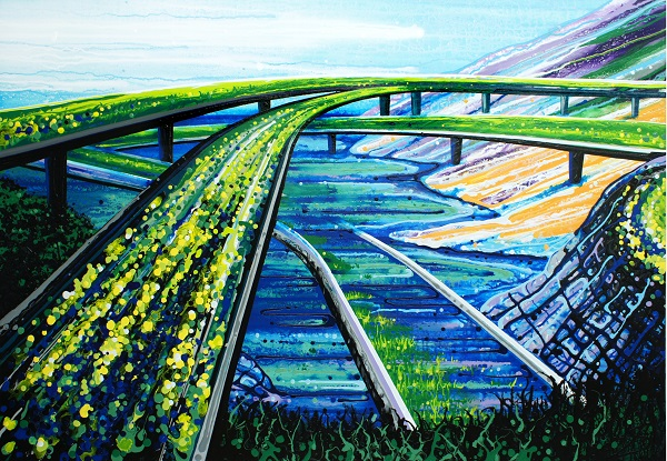 """At The Crossroads (California), June 2014, 35"""" x 50"""", acrylic and enamel on canvas. Photo Credit: Amy Shackleton."""