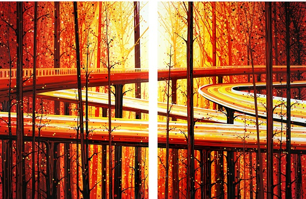 """""""Treeway"""" (San Francisco + Vancouver), July 2014, 60"""" x 90"""" diptych, acrylic and enamel. Photo Credit: Amy Shackleton."""