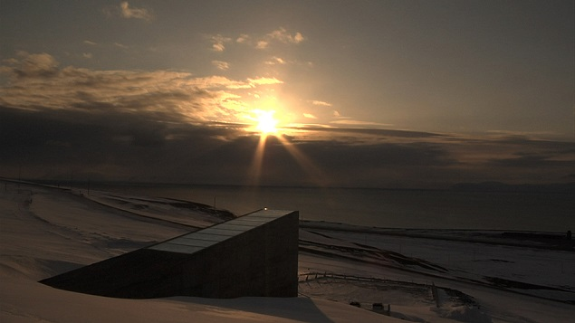 The Svalbard Global Seed Bank as the sun sets. Photo Credit: Mari Tefre.