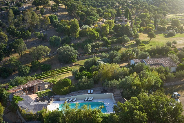 Aerial view of Johnny Depp's estate, specifically the pool compound. Photo Credit: Cote d'Azur Sotheby's International Realty.