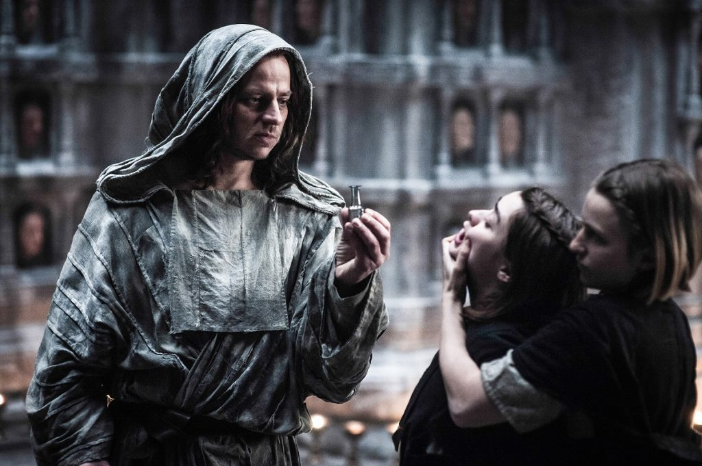 Pictured: Tom Wlaschiha, Maisie Williams, Faye Marsay in the season 5 finale of GoT. Photo Credit: Helen Sloan/courtesy of HBO.