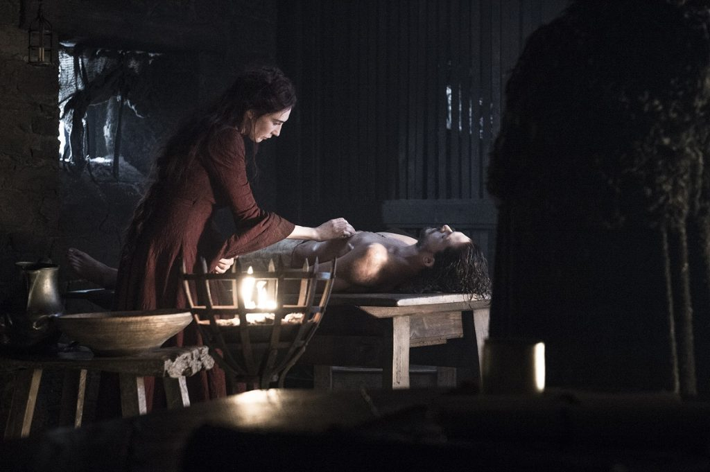 Carice van Houten as the Red Woman and Kit Harington as Jon Snow in GoT's Season 6, episode 2. Photo Credit: Helen Sloan/courtesy of HBO.