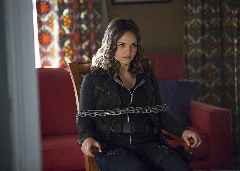 "Pictured: Leslie-Anne Huff as Rayna in The Vampire Diaries -- ""I Went to the Woods. Photo Credit: Bob Mahoney/The CW. © 2016 The CW Network, LLC. All rights reserved."