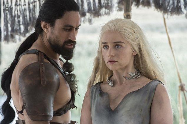 Joe Naufahu, Emilia Clarke. Photo Credit: Macall B. Polay/courtesy of HBO.