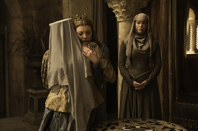 Diana Rigg as Olenna Tyrell, Natalie Dormer as Queen Margaery and Hannah Waddingham as Septa Unella in Season 6 of Game of Thrones. Photo Credit: Helen Sloan/courtesy of HBO.
