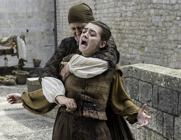 Margaret Jackman and Maisie Williams as Arya Stark in Season 6 of Game of Thrones. Photo Credit: Macall B. Polay/courtesy of HBO.