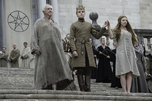 Jonathan Pryce as the High Sparrow, Dean-Charles Chapman as Tommen Baratheon and Natalie Dormer as Margaery Tyrell in Season 6 of Game of Thrones. Photo Credit: Macall B. Polay/courtesy of HBO.